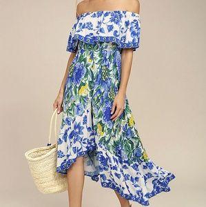 S Lulus Blue Floral Off-Shoulder Midi Dress